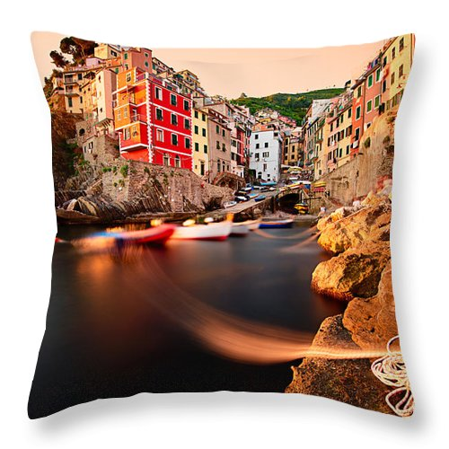 Boat Throw Pillow featuring the photograph Riomaggiore Cinque Terre by Andre Distel