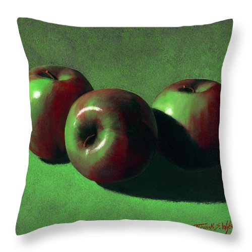 Still Life Throw Pillow featuring the painting Ripe Apples by Frank Wilson
