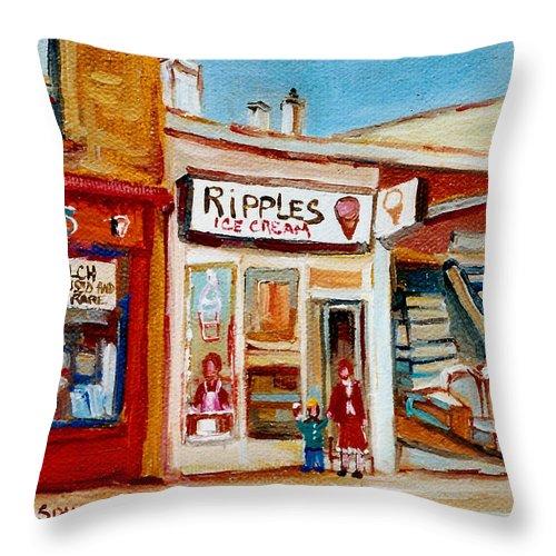 Ripples Icecream Throw Pillow featuring the painting Ripples Icecream by Carole Spandau