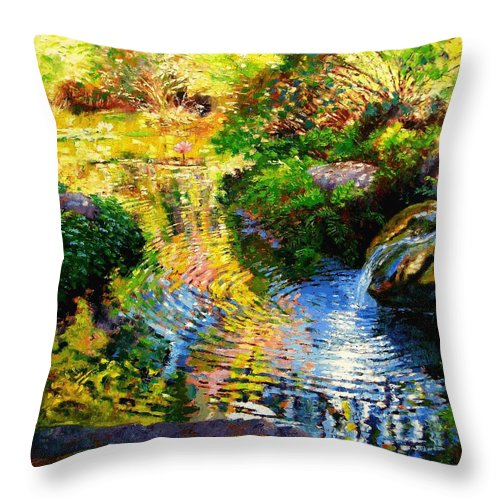 Autumn Pond Throw Pillow featuring the painting Ripples On A Quiet Pond by John Lautermilch