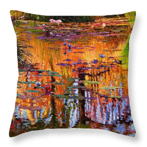 Flower Garden Throw Pillow featuring the painting Ripples On Fall Pond by John Lautermilch