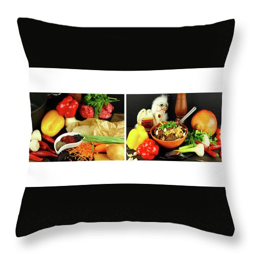 Svetlana Iso Throw Pillow featuring the photograph Rise And Pilaf - Collage by Svetlana Iso