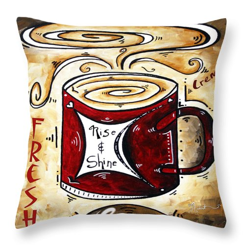 Original Throw Pillow featuring the painting Rise And Shine Original Painting Madart by Megan Duncanson