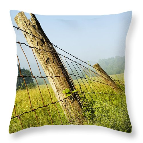 Misty Morning Throw Pillow featuring the photograph Rising Mist With Falling Fence by Thomas R Fletcher