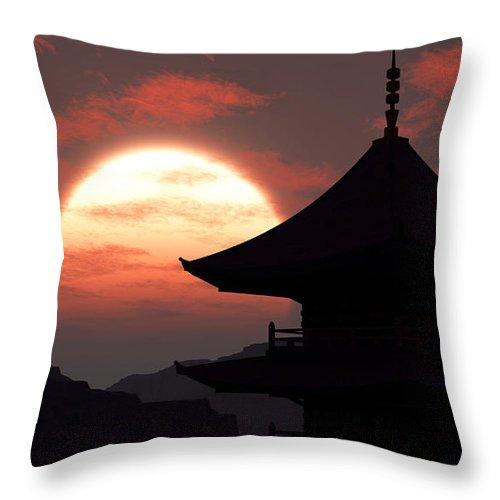 Oriental Throw Pillow featuring the digital art Rising Sun by Richard Rizzo