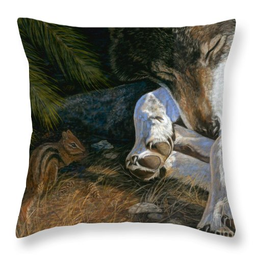 Wolf Throw Pillow featuring the painting Risky Business by Sheri Gordon