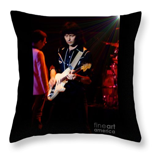 Oakland Auditorium Concerts Throw Pillow featuring the photograph Ritchie Blackmore Super Nova Lighting Effect - Oakland Auditorium 1979 by Daniel Larsen