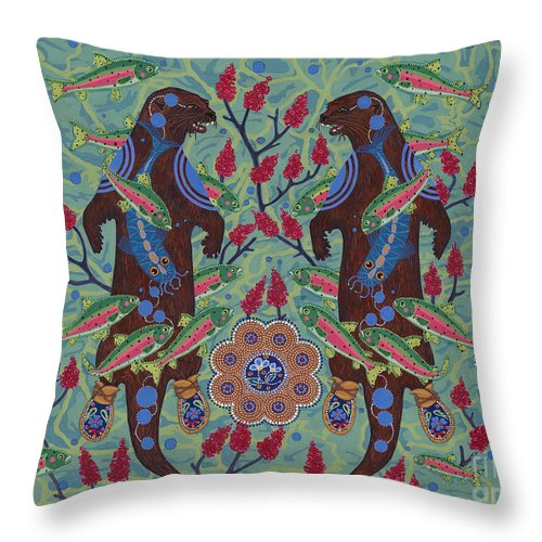 Native American Throw Pillow featuring the painting River Spirit by Chholing Taha