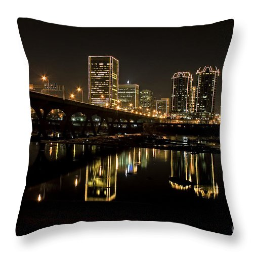 Richmond Cityscape Throw Pillow featuring the photograph River City Lights At Night by Tim Wilson