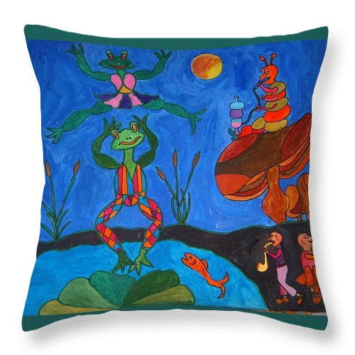 Naive Humor Throw Pillow featuring the painting River Dancing by Peter J Saville-Bradshaw