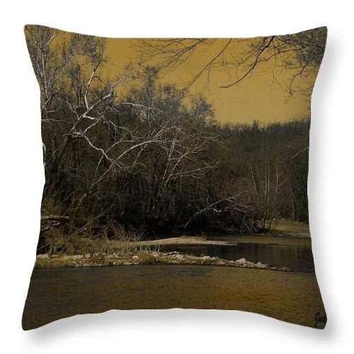 River Throw Pillow featuring the mixed media River Glow by Julie Grace