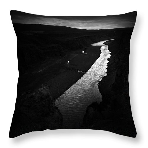 River Throw Pillow featuring the photograph River in the dark in Iceland by Matthias Hauser