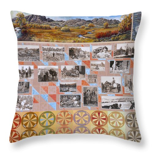 Western Throw Pillow featuring the painting River Mural Autumn Panel Bottom Half by Dawn Senior-Trask