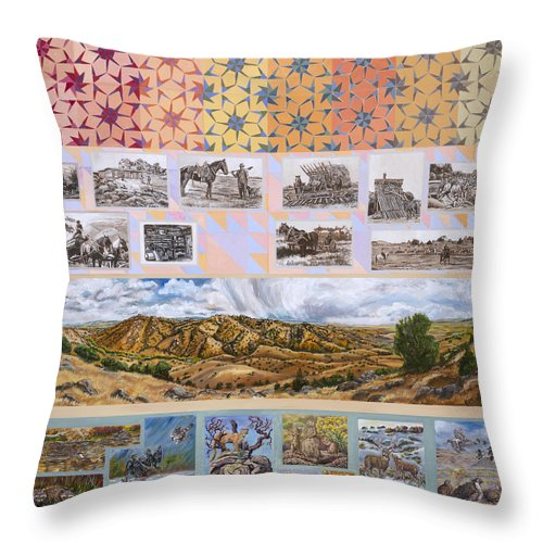 Western Throw Pillow featuring the painting River Mural Autumn Panel Top Half by Dawn Senior-Trask