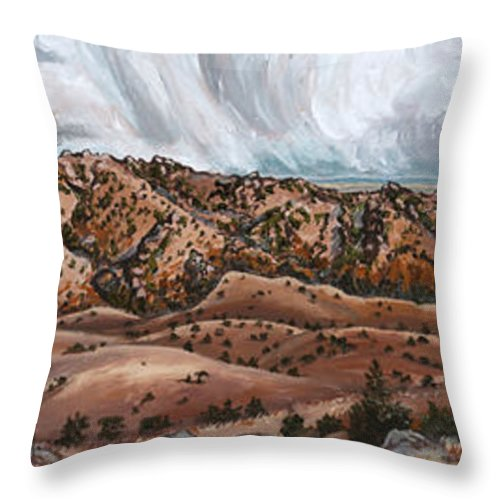 Landscape Throw Pillow featuring the painting River Mural Autumn Panorama by Dawn Senior-Trask