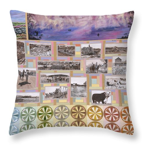 Western Throw Pillow featuring the painting River Mural Summer Panel Bottom Half by Dawn Senior-Trask