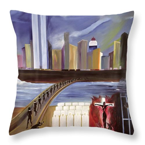 Crossing Throw Pillow featuring the painting River Of Babylon by Ikahl Beckford