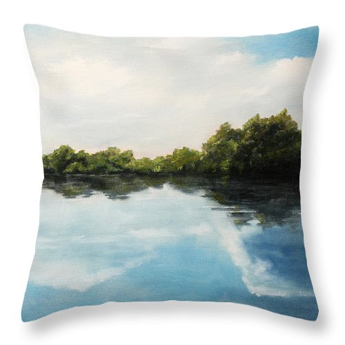 Landscape Throw Pillow featuring the painting River of Dreams by Darko Topalski