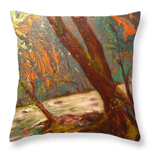Nature Throw Pillow featuring the painting River Of Energy by Sofanya White