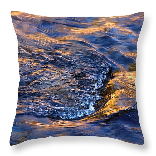 River Throw Pillow featuring the photograph River Rapids At Sunset by Steve Somerville