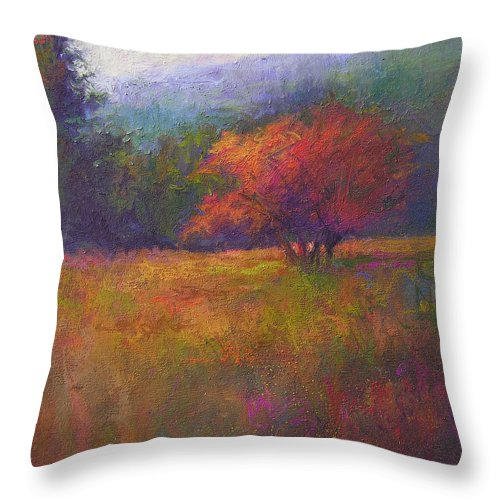 Landscape Throw Pillow featuring the painting River Road Above New Hope by Susan Williamson