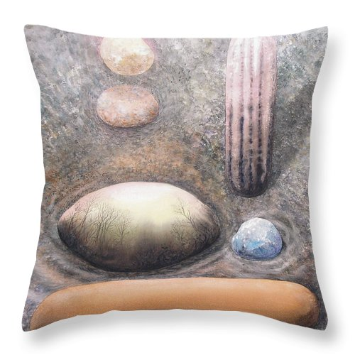 Abstract Throw Pillow featuring the painting River Rock 1 by Valerie Meotti