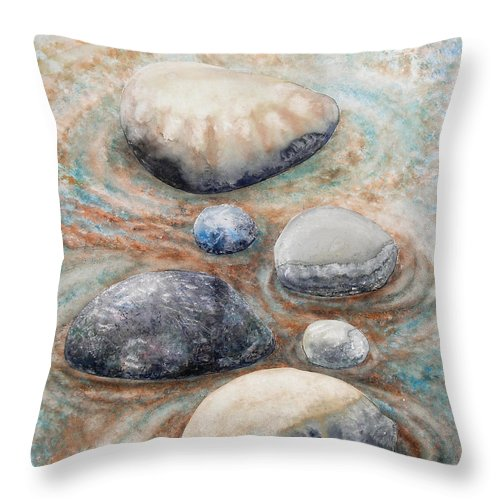 Abstract Throw Pillow featuring the painting River Rock 2 by Valerie Meotti