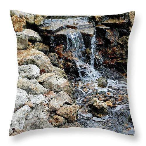River Throw Pillow featuring the digital art River Rock Of The Unknown by DigiArt Diaries by Vicky B Fuller