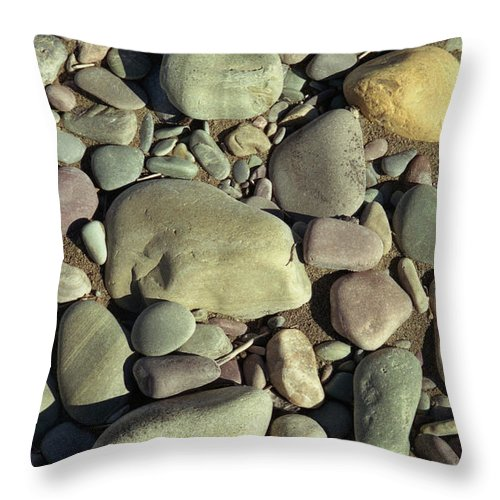 River Rock Throw Pillow featuring the photograph River Rock by Richard Rizzo
