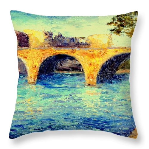 Impressionism Throw Pillow featuring the painting River Seine Bridge by Gail Kirtz