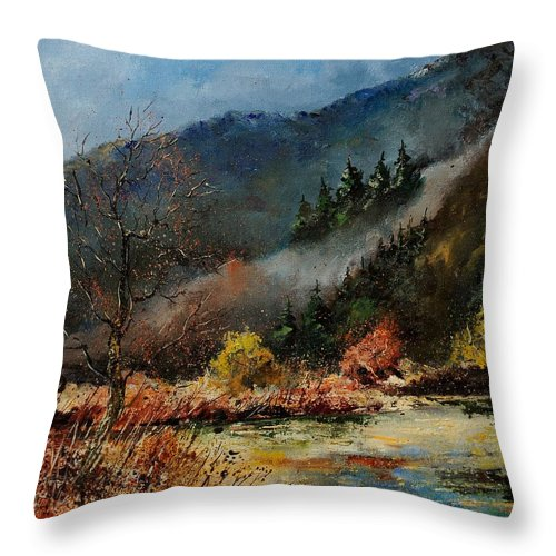 River Throw Pillow featuring the painting River Semois by Pol Ledent