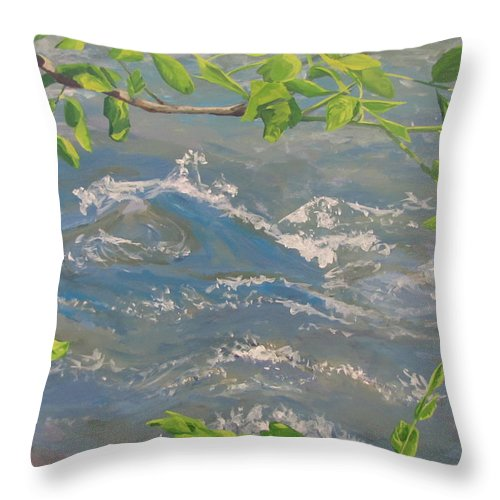New Leaves Throw Pillow featuring the painting River Spring by Karen Ilari