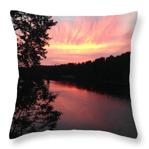 River Throw Pillow featuring the photograph River Sunset by Shari Chavira
