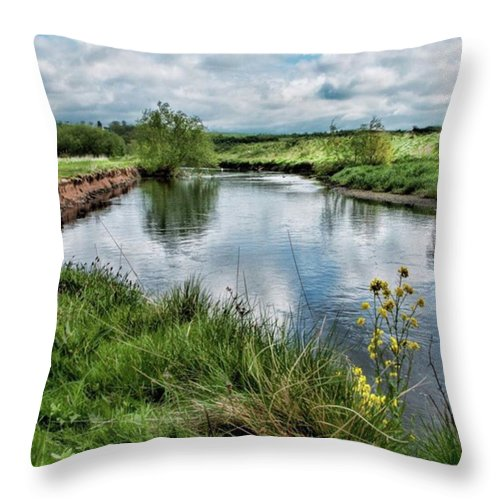 Nature_perfection Throw Pillow featuring the photograph River Tame, Rspb Middleton, North by John Edwards