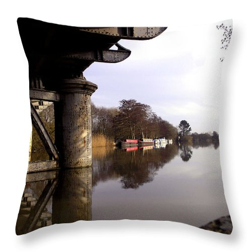 Barge Throw Pillow featuring the photograph River Thames At Sandford. by Mike Lester