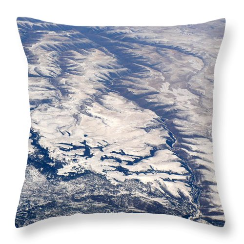 Aerial Throw Pillow featuring the photograph River Valley Aerial by Carol Groenen