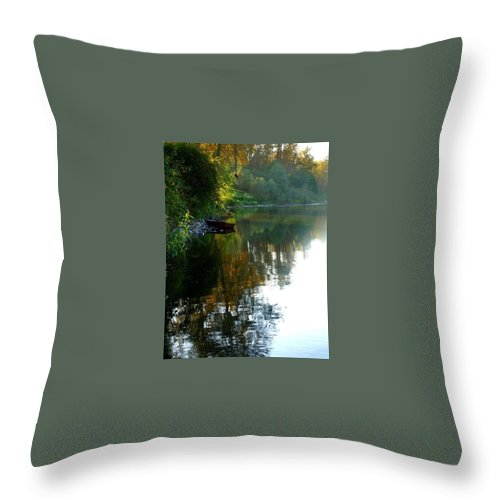 River Rope Swing Boat Throw Pillow featuring the pyrography River View by Amber Carpenter
