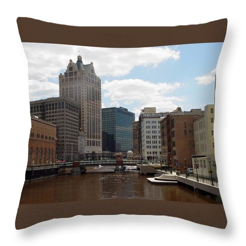 Milwaukee Throw Pillow featuring the photograph River View by Anita Burgermeister