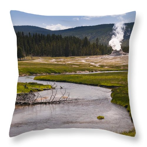 Castle Geyser Throw Pillow featuring the photograph River View by Chad Davis
