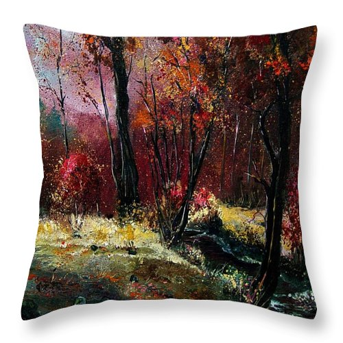 River Throw Pillow featuring the painting River Ywoigne by Pol Ledent