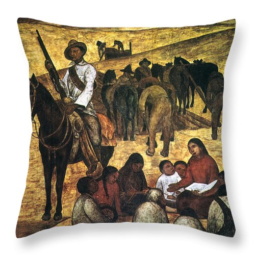 Agricultural Throw Pillow featuring the photograph Rivera: Schoolteacher by Granger