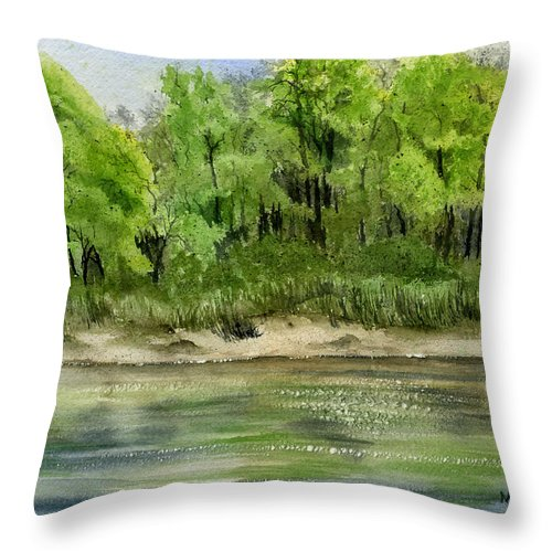 Water Throw Pillow featuring the painting Riverbank by Mary Tuomi