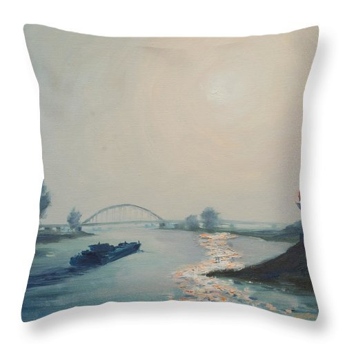 River Throw Pillow featuring the painting Riverbarge by Rick Nederlof