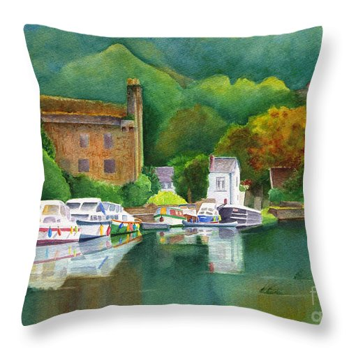 Landscape Throw Pillow featuring the painting Riverboats by Karen Fleschler
