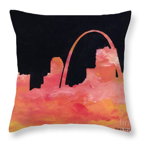 Cityscape Throw Pillow featuring the painting Riverfront by Joseph A Langley