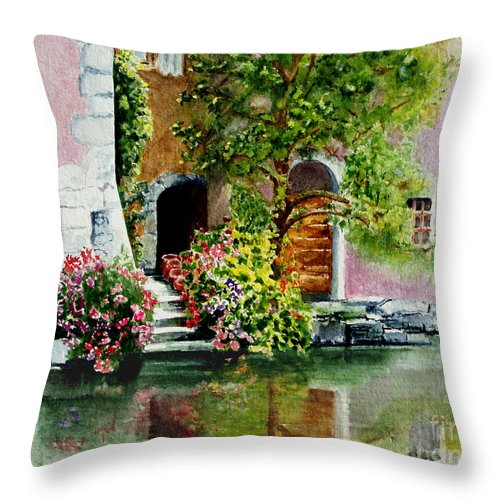 Water Throw Pillow featuring the painting Riverfront Property by Karen Fleschler