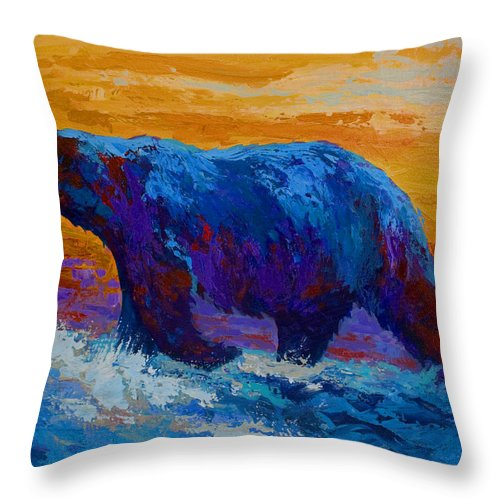 Bear Throw Pillow featuring the painting Rivers Edge I by Marion Rose