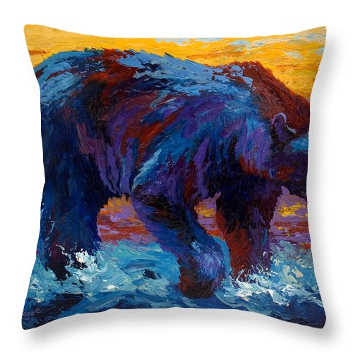 Western Throw Pillow featuring the painting Rivers Edge II by Marion Rose