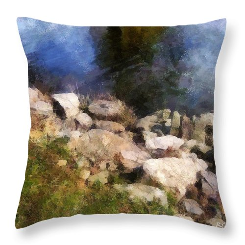 Connecticut Throw Pillow featuring the painting River's Edge by RC DeWinter