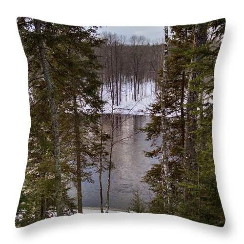 River Throw Pillow featuring the photograph River's Winter Pine by Stephanie Forrer-Harbridge